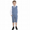 Boys Blue Cotton Linen 4 Piece Shorts Suit